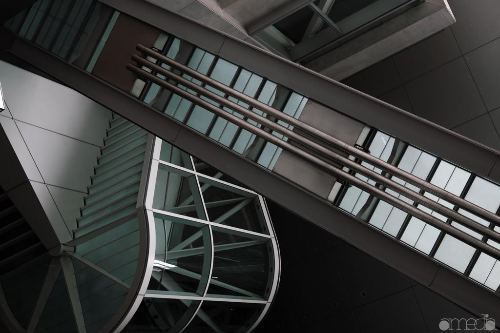 東京フォーラム外の階段を見上げた