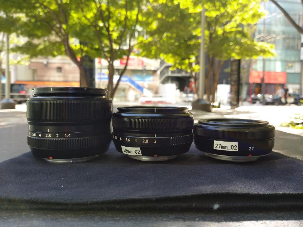 左からXF35mm,XF18mm,XF27mm